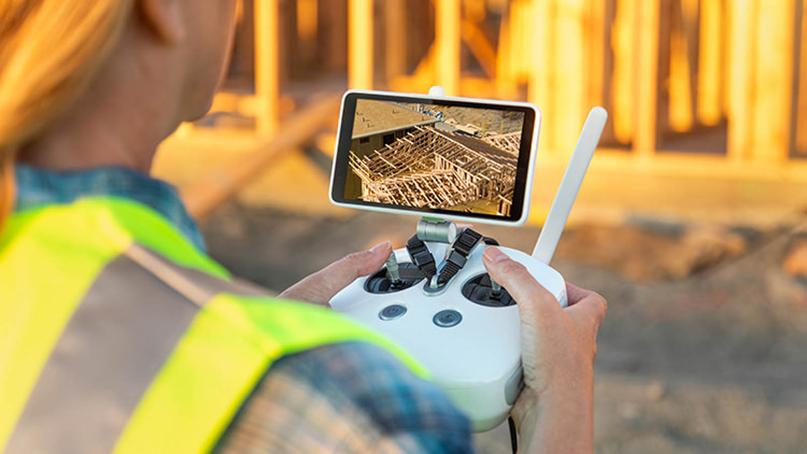 Female Unmanned Aircraft System (UAV) Quadcopter Drone Pilot wit